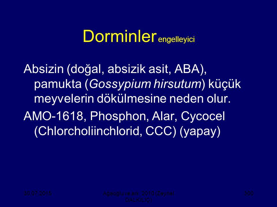 Dorminler engelleyici Absizin (doğal, absizik asit, ABA), pamukta (Gossypium hirsutum) küçük meyvelerin dökülmesine neden olur. AMO-1618, Phosphon, Al