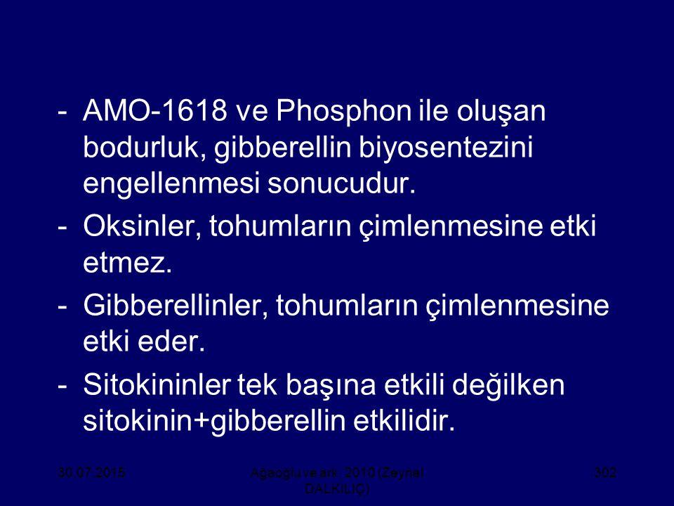 -AMO-1618 ve Phosphon ile oluşan bodurluk, gibberellin biyosentezini engellenmesi sonucudur. -Oksinler, tohumların çimlenmesine etki etmez. -Gibberell