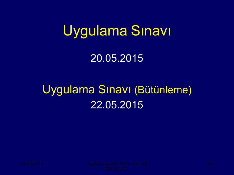 Uygulama Sınavı 20.05.2015 Uygulama Sınavı (Bütünleme) 22.05.2015 30.07.2015Ağaoğlu ve ark. 2010 (Zeynel DALKILIÇ) 307