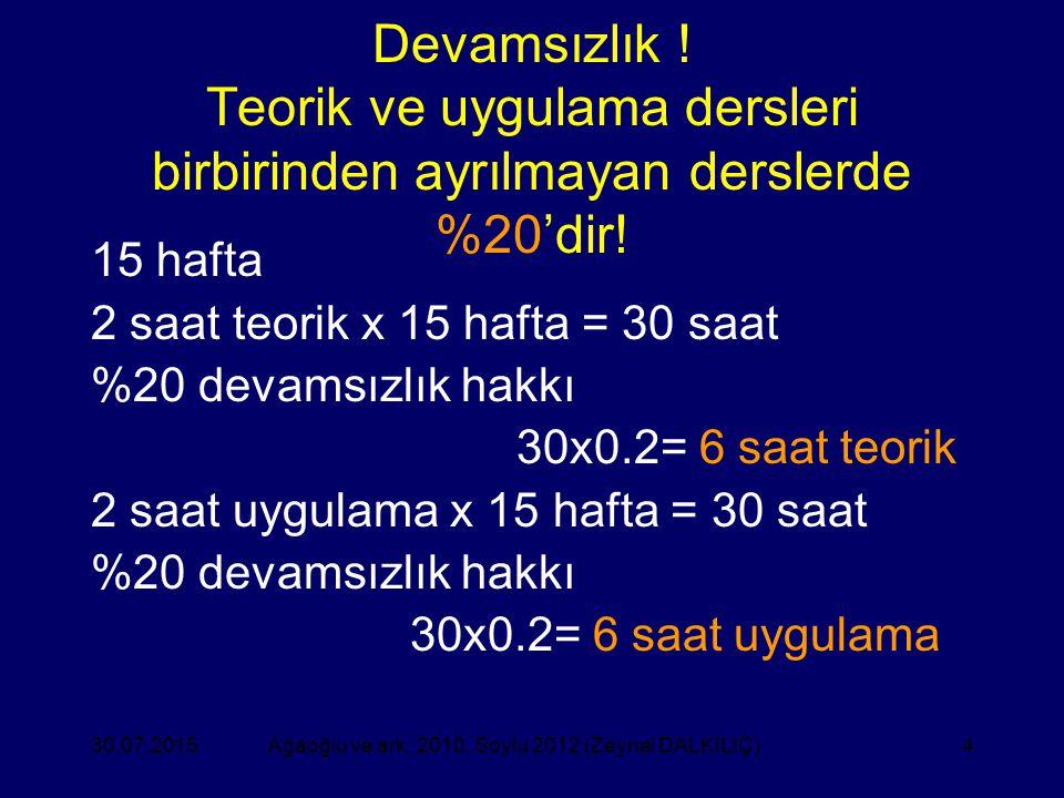4 Devamsızlık ! Teorik ve uygulama dersleri birbirinden ayrılmayan derslerde %20'dir! 15 hafta 2 saat teorik x 15 hafta = 30 saat %20 devamsızlık hakk