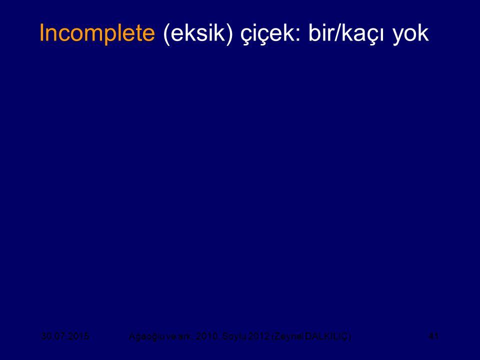 41 Ağaoğlu ve ark. 2010, Soylu 2012 (Zeynel DALKILIÇ)30.07.2015 Incomplete (eksik) çiçek: bir/kaçı yok