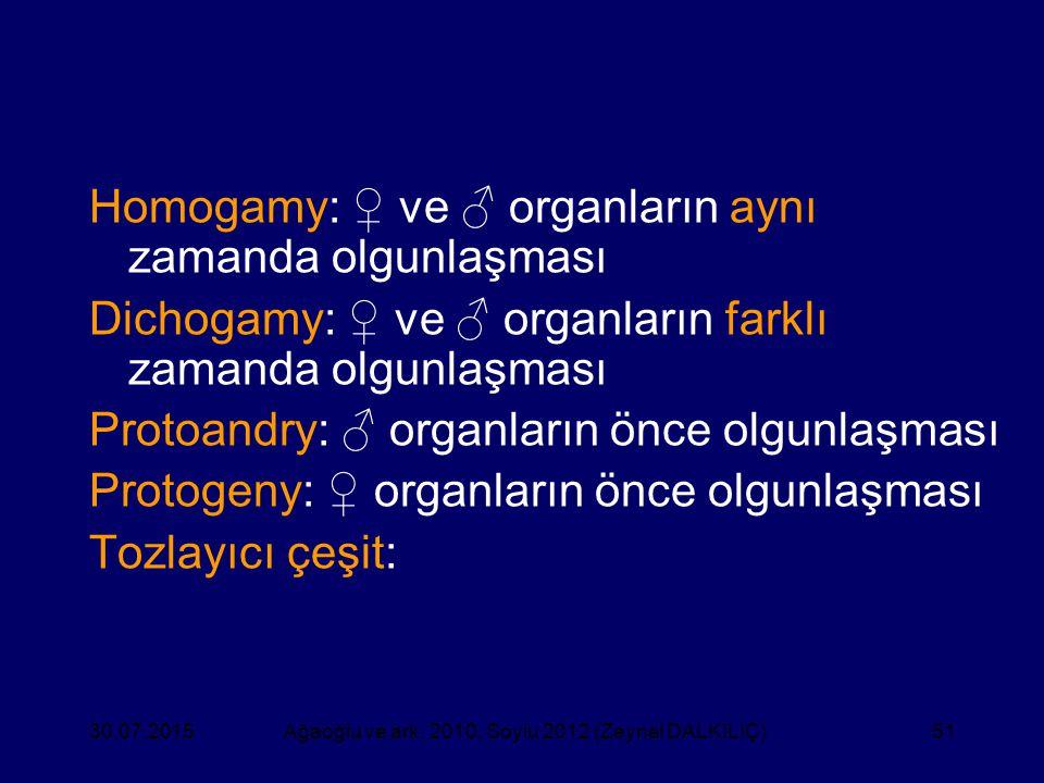 51 Homogamy: ♀ ve ♂ organların aynı zamanda olgunlaşması Dichogamy: ♀ ve ♂ organların farklı zamanda olgunlaşması Protoandry: ♂ organların önce olgunl