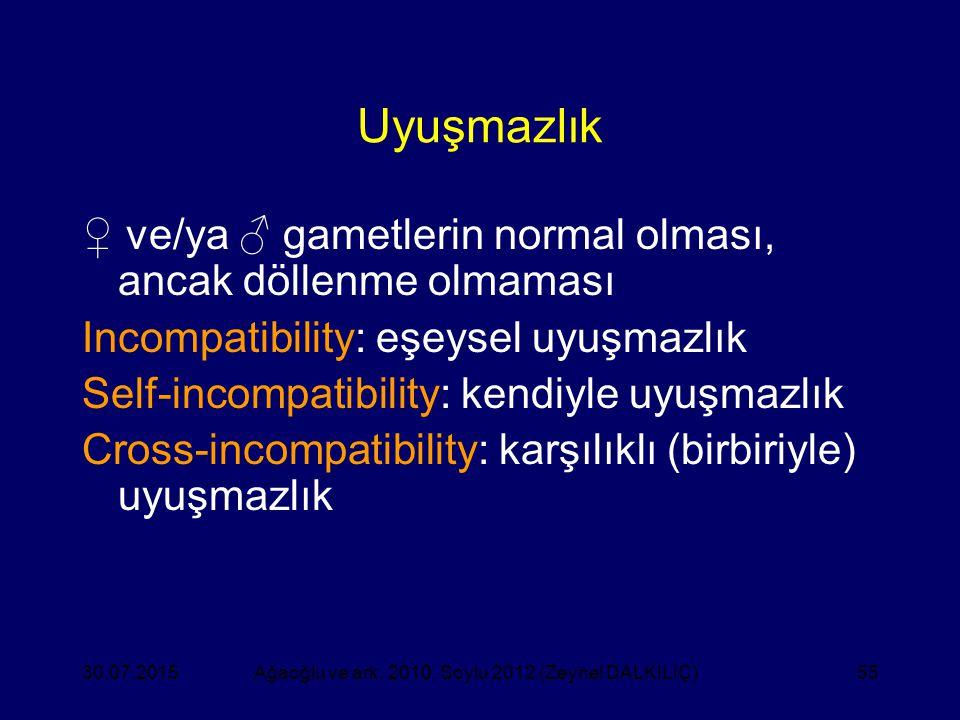 55 Uyuşmazlık ♀ ve/ya ♂ gametlerin normal olması, ancak döllenme olmaması Incompatibility: eşeysel uyuşmazlık Self-incompatibility: kendiyle uyuşmazlı
