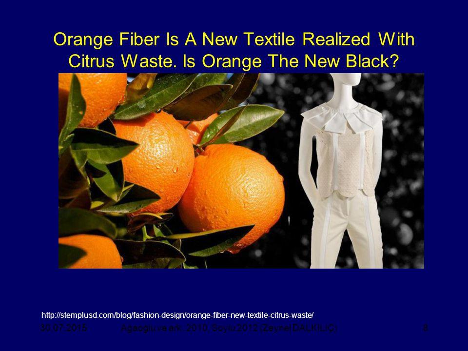 8 Orange Fiber Is A New Textile Realized With Citrus Waste. Is Orange The New Black? Ağaoğlu ve ark. 2010, Soylu 2012 (Zeynel DALKILIÇ)30.07.2015 http
