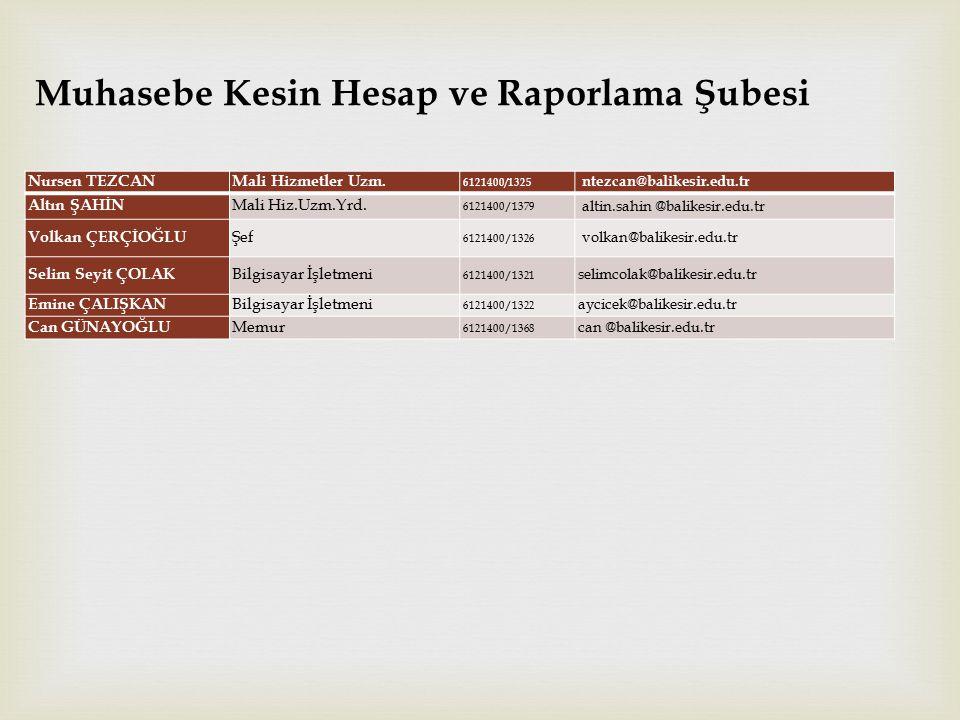 Muhasebe Kesin Hesap ve Raporlama Şubesi  Nursen TEZCAN Mali Hizmetler Uzm.