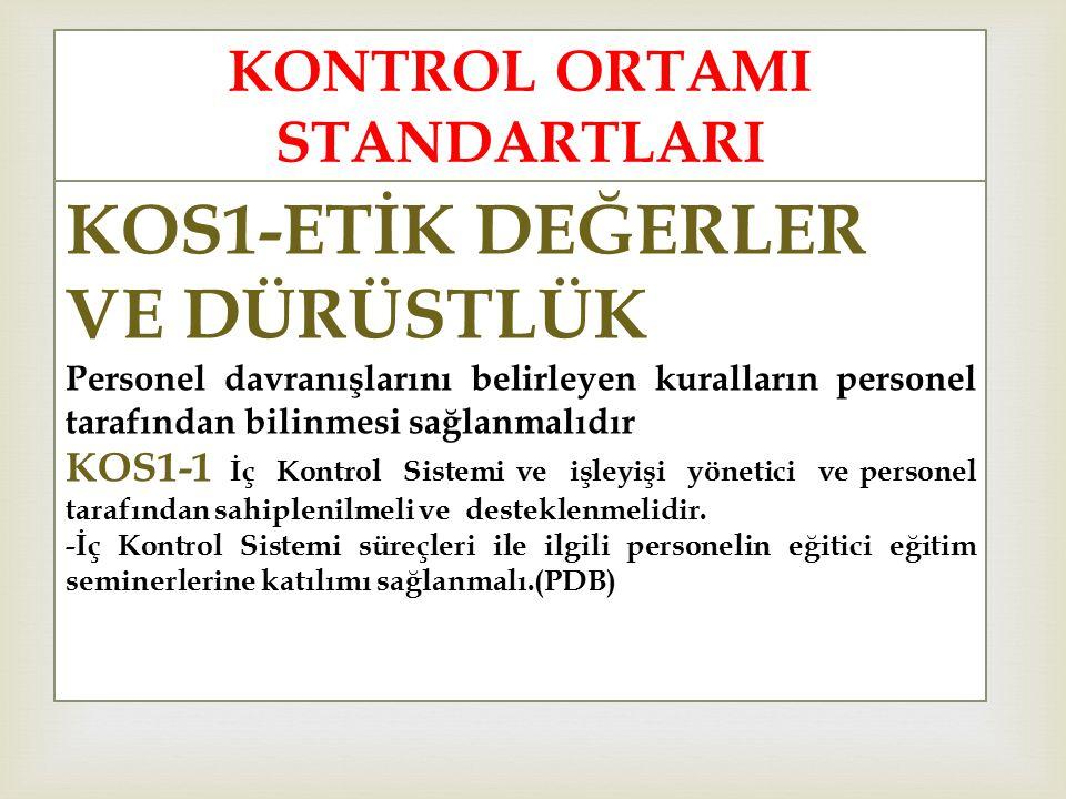 KONTROL ORTAMI STANDARTLARI KOS1-ETİK DEĞERLER VE DÜRÜSTLÜK Personel davranışlarını belirleyen kuralların personel tarafından bilinmesi sağlanmalıdır