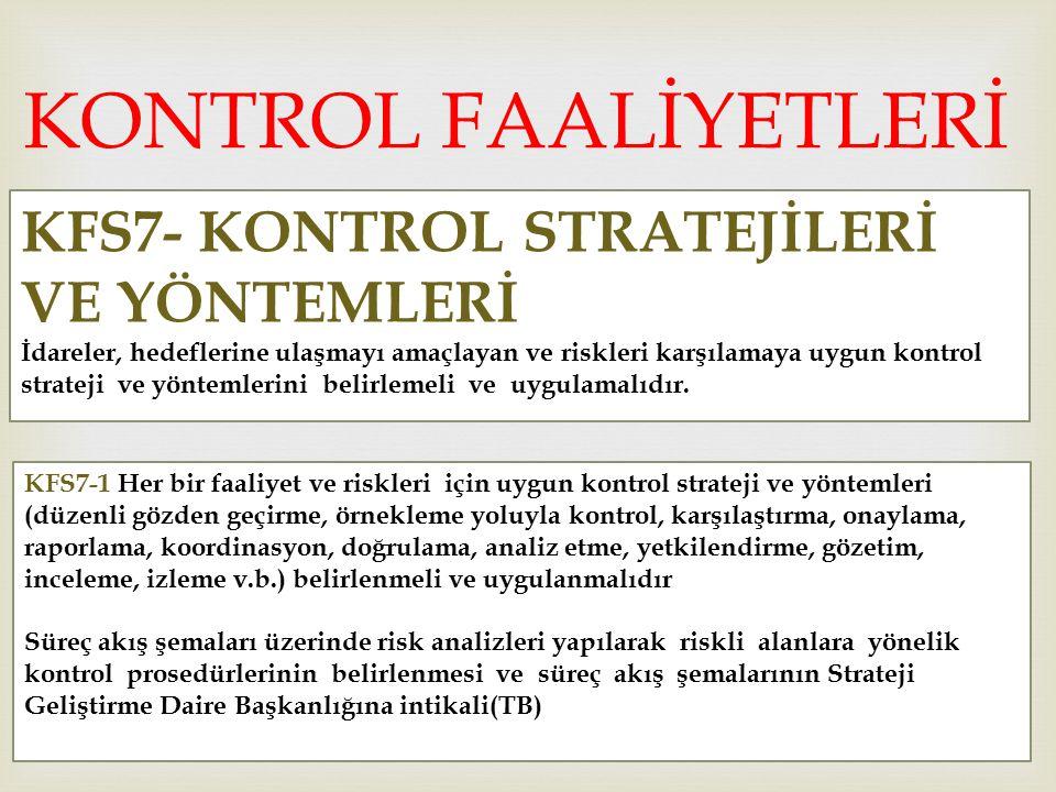 KONTROL FAALİYETLERİ KFS7- KONTROL STRATEJİLERİ VE YÖNTEMLERİ İdareler, hedeflerine ulaşmayı amaçlayan ve riskleri karşılamaya uygun kontrol strateji ve yöntemlerini belirlemeli ve uygulamalıdır.