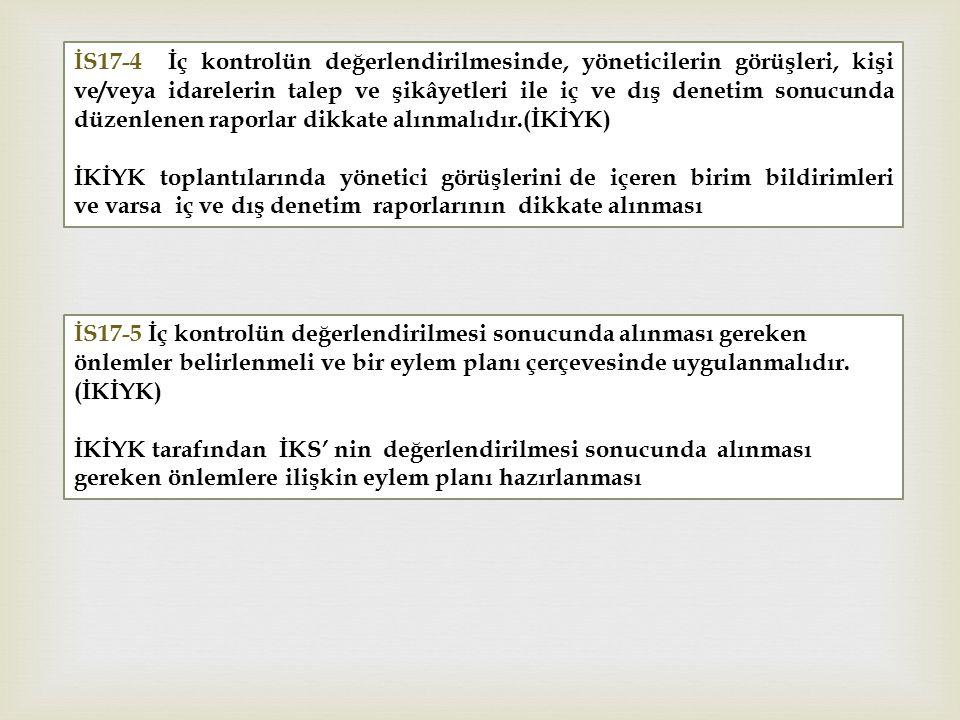 İS17-4 İç kontrolün değerlendirilmesinde, yöneticilerin görüşleri, kişi ve/veya idarelerin talep ve şikâyetleri ile iç ve dış denetim sonucunda düzenlenen raporlar dikkate alınmalıdır.(İKİYK) İKİYK toplantılarında yönetici görüşlerini de içeren birim bildirimleri ve varsa iç ve dış denetim raporlarının dikkate alınması İS17-5 İç kontrolün değerlendirilmesi sonucunda alınması gereken önlemler belirlenmeli ve bir eylem planı çerçevesinde uygulanmalıdır.