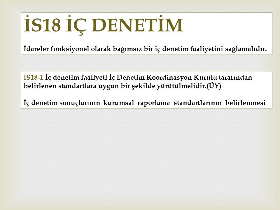 İS18 İÇ DENETİM İdareler fonksiyonel olarak bağımsız bir iç denetim faaliyetini sağlamalıdır. İS18-1 İç denetim faaliyeti İç Denetim Koordinasyon Kuru