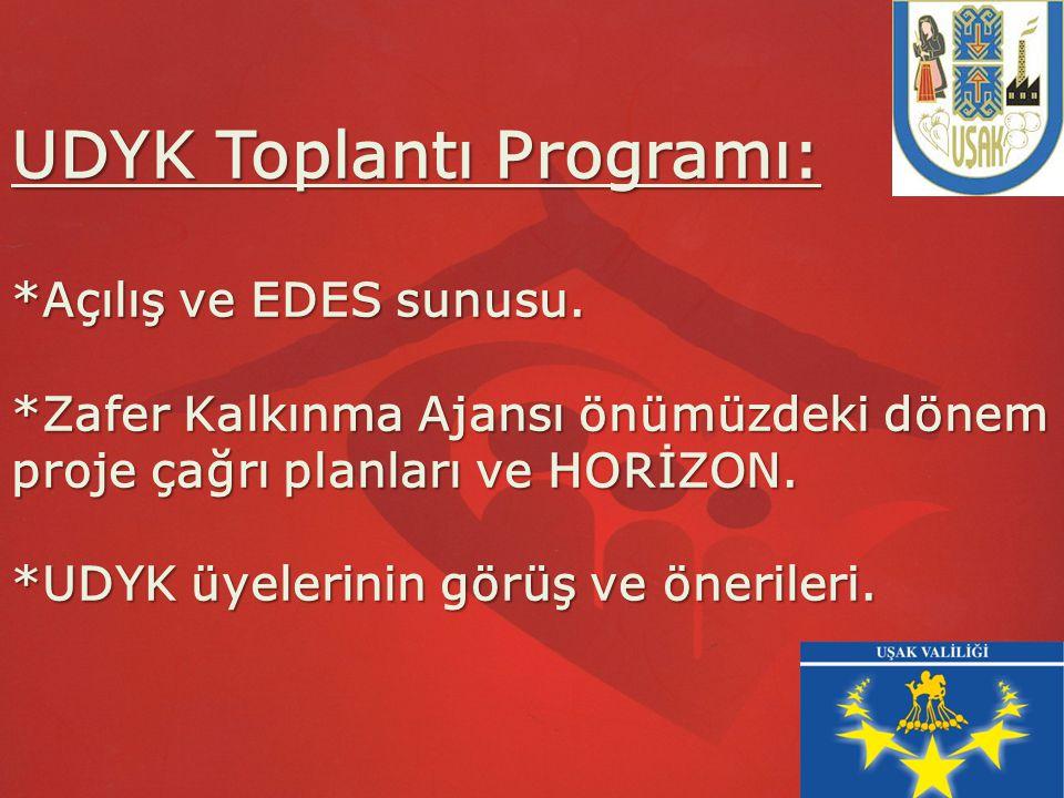 UDYK Toplantı Programı: *Açılış ve EDES sunusu. *Zafer Kalkınma Ajansı önümüzdeki dönem proje çağrı planları ve HORİZON. *UDYK üyelerinin görüş ve öne