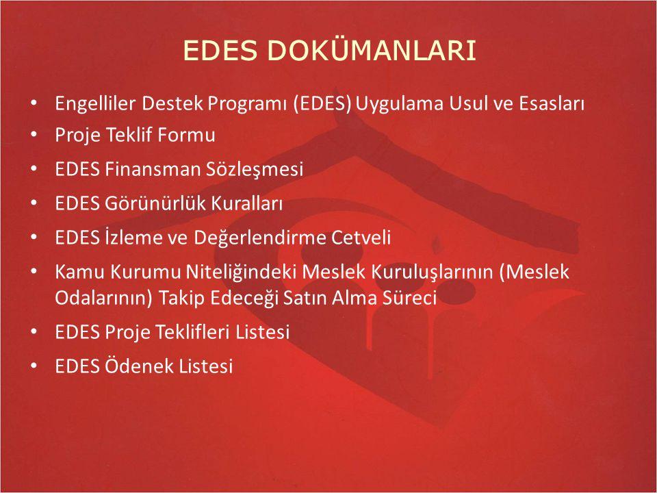 EDES DOKÜMANLARI Engelliler Destek Programı (EDES) Uygulama Usul ve Esasları Proje Teklif Formu EDES Finansman Sözleşmesi EDES Görünürlük Kuralları ED