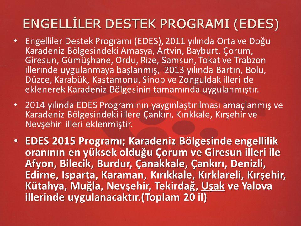 ENGELLİLER DESTEK PROGRAMI (EDES) 33 proje EDES 2011 kapsamında 11 ilde 33 proje uygulanmıştır.