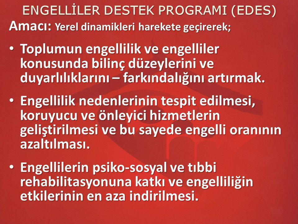 ENGELLİLER DESTEK PROGRAMI (EDES) Amacı: Yerel dinamikleri harekete geçirerek; Toplumun engellilik ve engelliler konusunda bilinç düzeylerini ve duyar