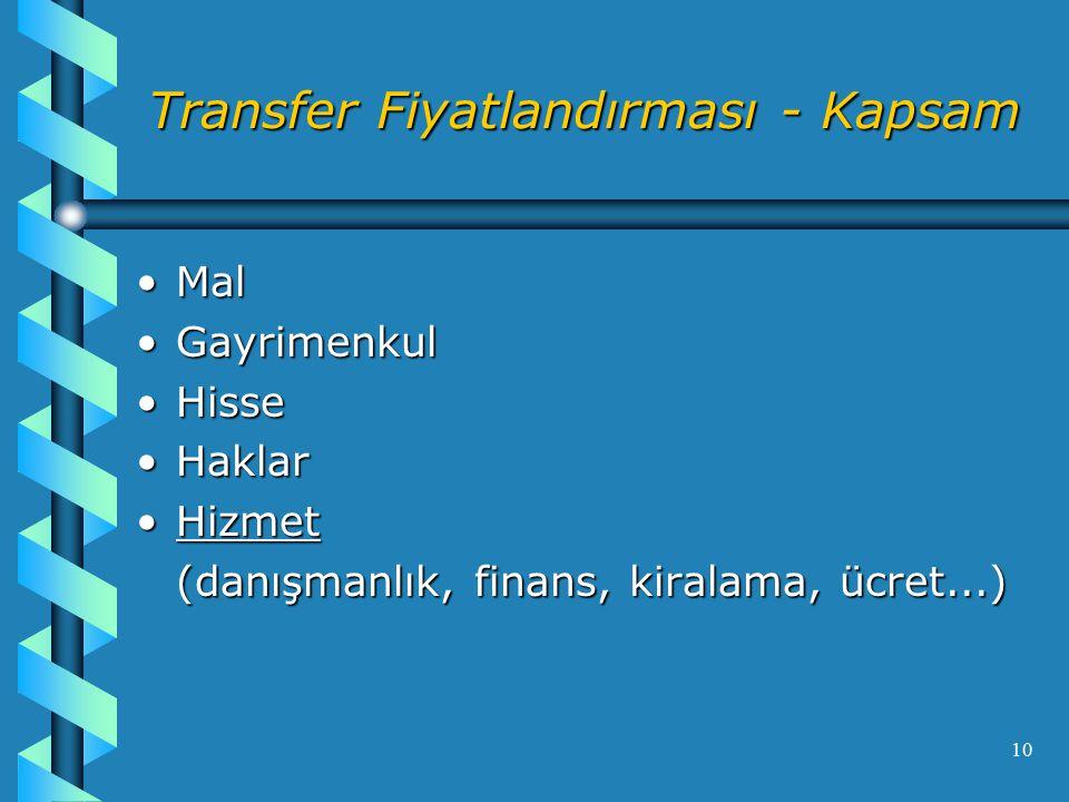 10 Transfer Fiyatlandırması - Kapsam MalMal GayrimenkulGayrimenkul HisseHisse HaklarHaklar HizmetHizmet (danışmanlık, finans, kiralama, ücret...)