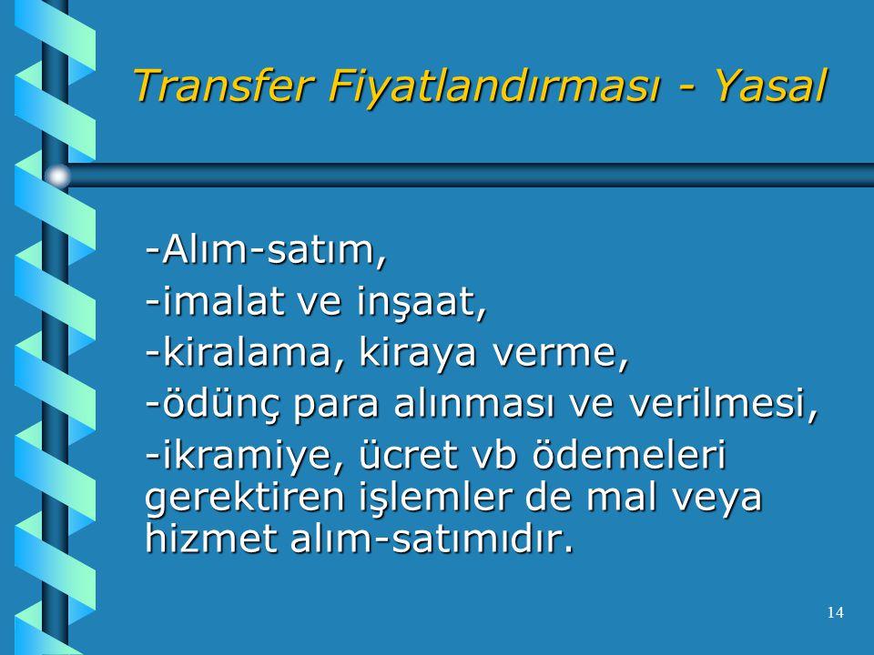 14 Transfer Fiyatlandırması - Yasal -Alım-satım, -imalat ve inşaat, -kiralama, kiraya verme, -ödünç para alınması ve verilmesi, -ikramiye, ücret vb ödemeleri gerektiren işlemler de mal veya hizmet alım-satımıdır.