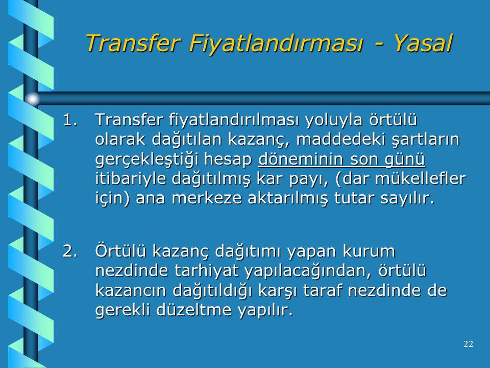 22 Transfer Fiyatlandırması - Yasal 1.Transfer fiyatlandırılması yoluyla örtülü olarak dağıtılan kazanç, maddedeki şartların gerçekleştiği hesap döneminin son günü itibariyle dağıtılmış kar payı, (dar mükellefler için) ana merkeze aktarılmış tutar sayılır.