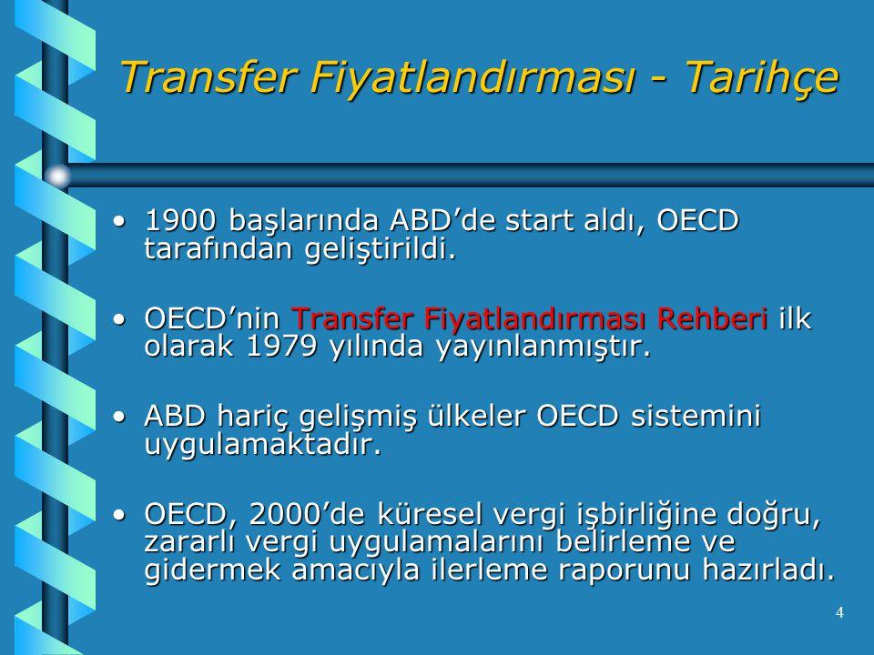 4 Transfer Fiyatlandırması - Tarihçe 1900 başlarında ABD'de start aldı, OECD tarafından geliştirildi.1900 başlarında ABD'de start aldı, OECD tarafından geliştirildi.