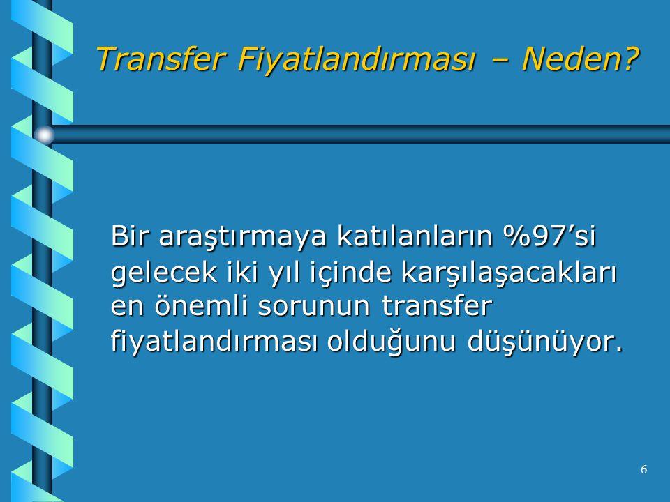 17 Transfer Fiyatlandırması - Yöntem 1- Karşılaştırılabilir Fiyat Yöntemi: Fiyatın, aralarında ilişki bulunmayan kişilerle olan aynı mahiyetteki işlemlerde uygulanan piyasa fiyatı karşılaştırılarak tespit edilmesi, 2- Maliyet Artı Yöntemi: İşleme konu mal veya hizmetin maliyetine, makul bir kar payı eklenerek fiyatın belirlenmesi, 3- Yeniden Satış Yöntemi: Mal veya hizmetin, herhangi bir ilişki bulunmayan kişilere satılması halinde uygulanacak fiyattan makul bir brüt satış karı düşülerek bulunmasıdır.