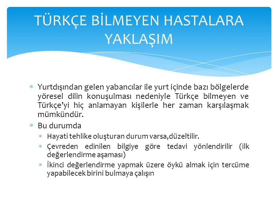  Yurtdışından gelen yabancılar ile yurt içinde bazı bölgelerde yöresel dilin konuşulması nedeniyle Türkçe bilmeyen ve Türkçe'yi hiç anlamayan kişiler