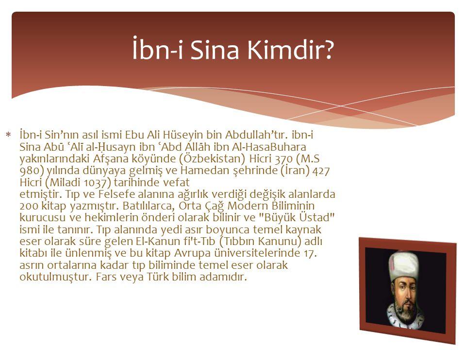  İbn-i Sin'nın asıl ismi Ebu Ali Hüseyin bin Abdullah'tır.