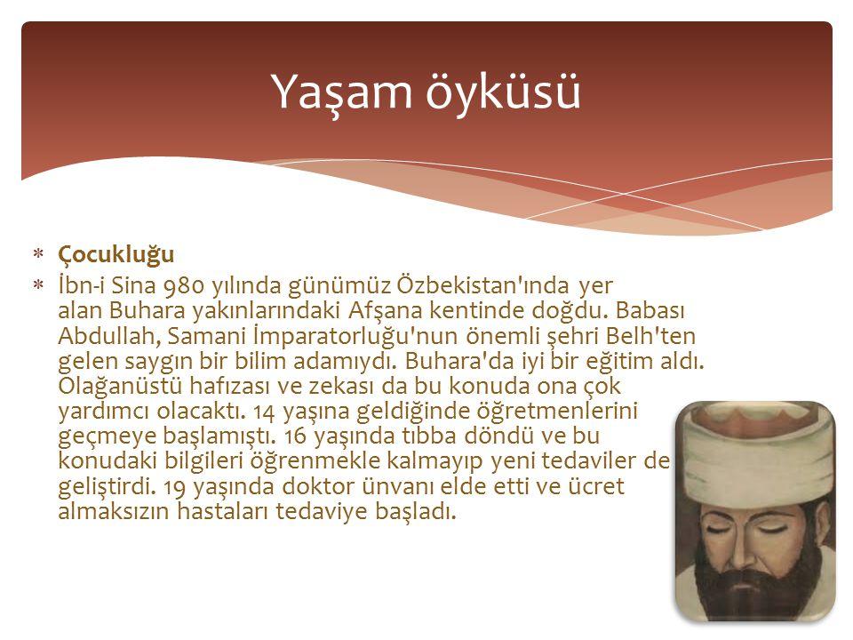  Çocukluğu  İbn-i Sina 980 yılında günümüz Özbekistan ında yer alan Buhara yakınlarındaki Afşana kentinde doğdu.