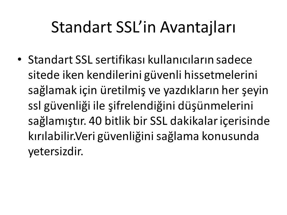 Standart SSL'in Avantajları Standart SSL sertifikası kullanıcıların sadece sitede iken kendilerini güvenli hissetmelerini sağlamak için üretilmiş ve yazdıkların her şeyin ssl güvenliği ile şifrelendiğini düşünmelerini sağlamıştır.