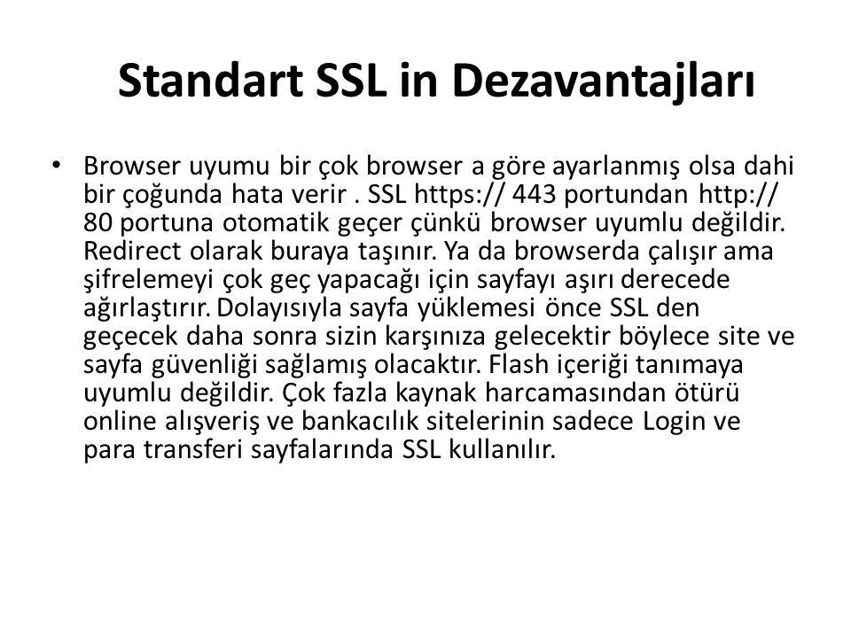 Standart SSL in Dezavantajları Browser uyumu bir çok browser a göre ayarlanmış olsa dahi bir çoğunda hata verir.