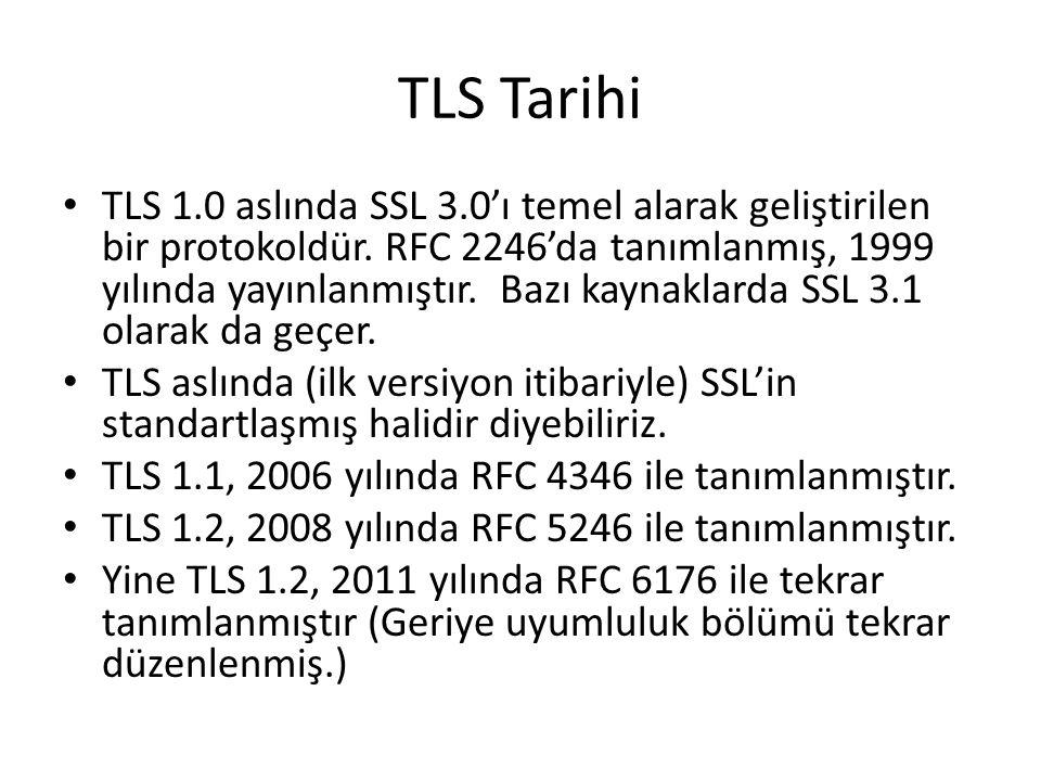 TLS Tarihi TLS 1.0 aslında SSL 3.0'ı temel alarak geliştirilen bir protokoldür.