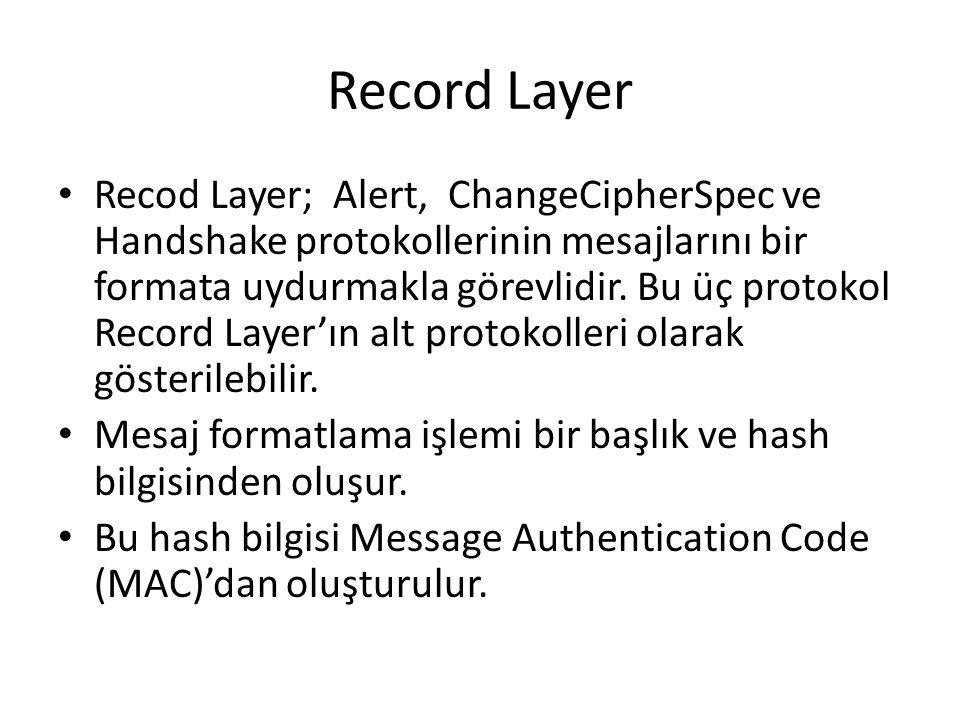 Record Layer Recod Layer; Alert, ChangeCipherSpec ve Handshake protokollerinin mesajlarını bir formata uydurmakla görevlidir.