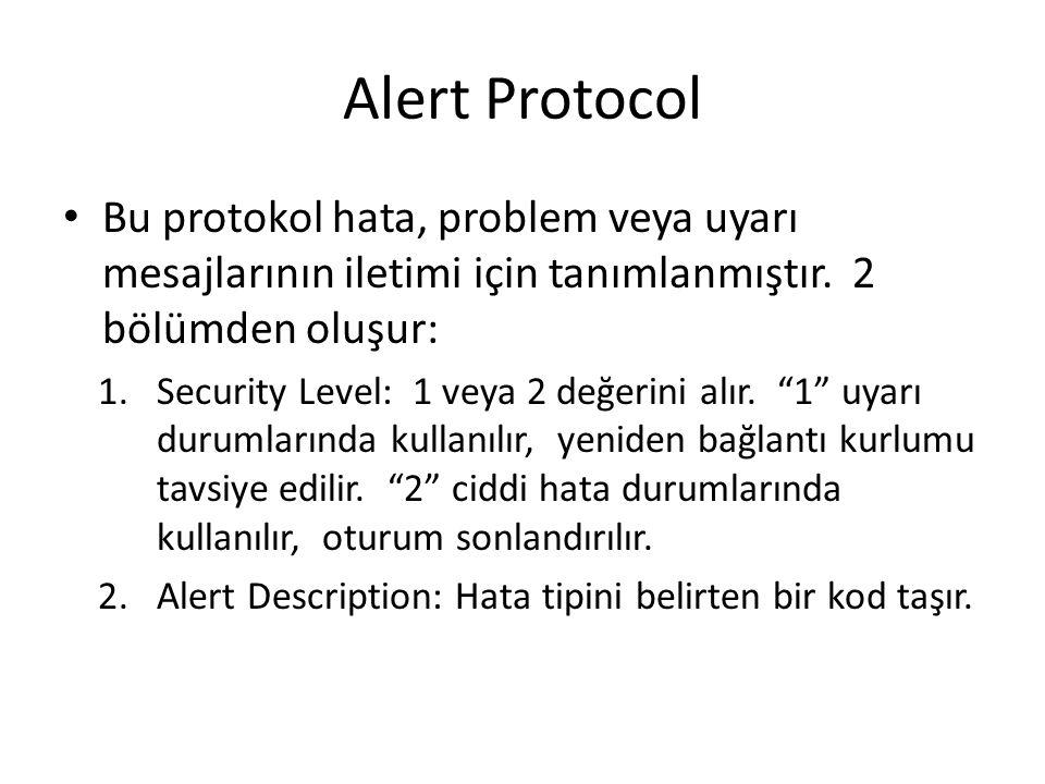 Alert Protocol Bu protokol hata, problem veya uyarı mesajlarının iletimi için tanımlanmıştır.