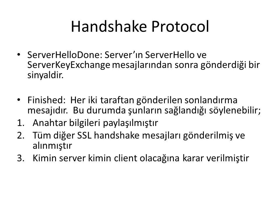 Handshake Protocol ServerHelloDone: Server'ın ServerHello ve ServerKeyExchange mesajlarından sonra gönderdiği bir sinyaldir.
