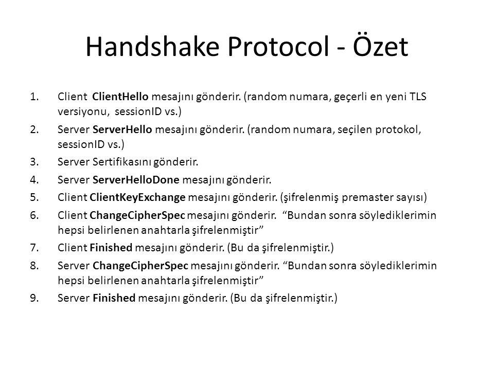 Handshake Protocol - Özet 1.Client ClientHello mesajını gönderir.