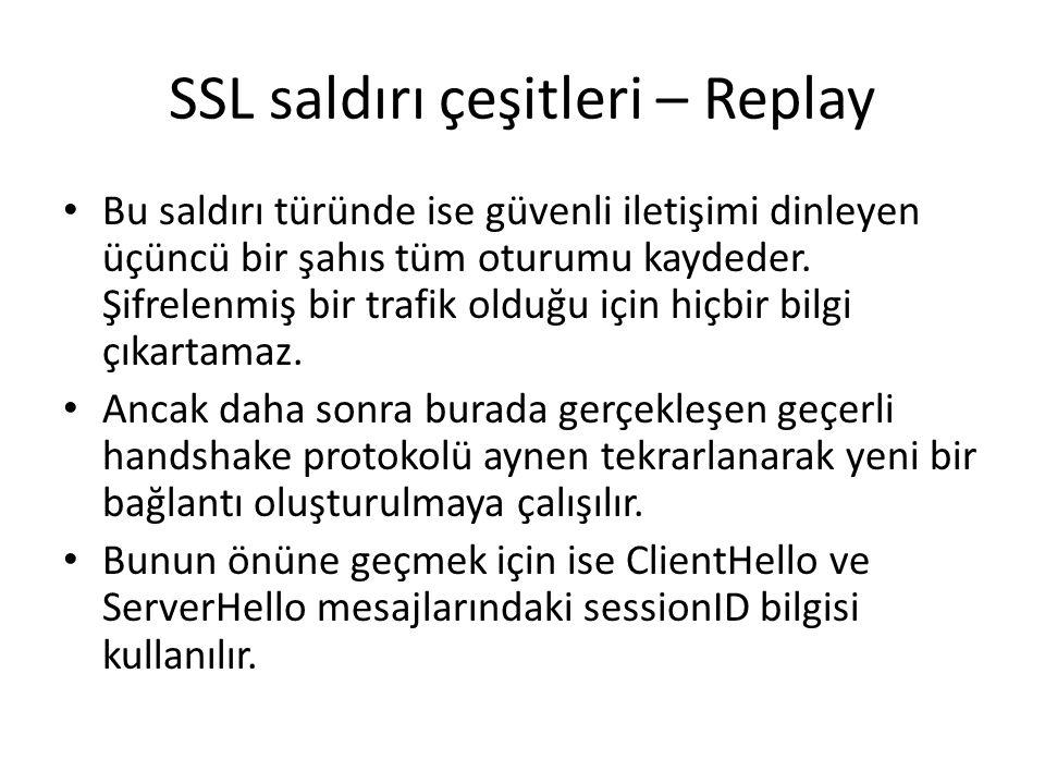 SSL saldırı çeşitleri – Replay Bu saldırı türünde ise güvenli iletişimi dinleyen üçüncü bir şahıs tüm oturumu kaydeder.