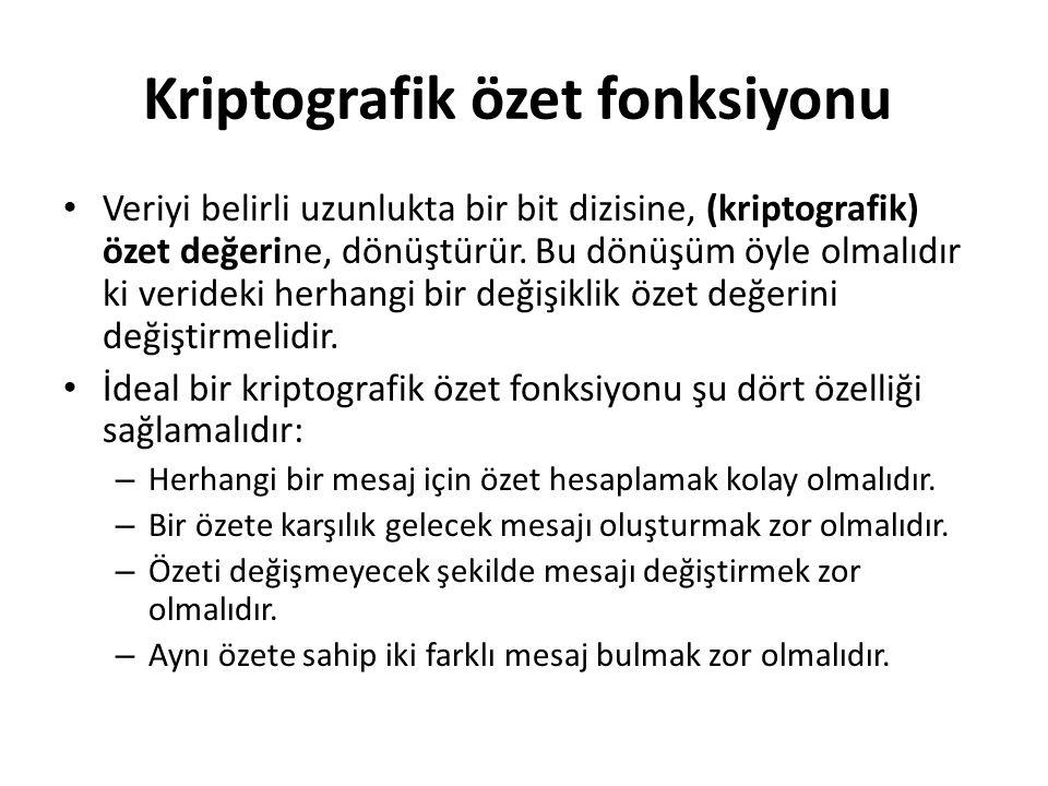 Kriptografik özet fonksiyonu Veriyi belirli uzunlukta bir bit dizisine, (kriptografik) özet değerine, dönüştürür.