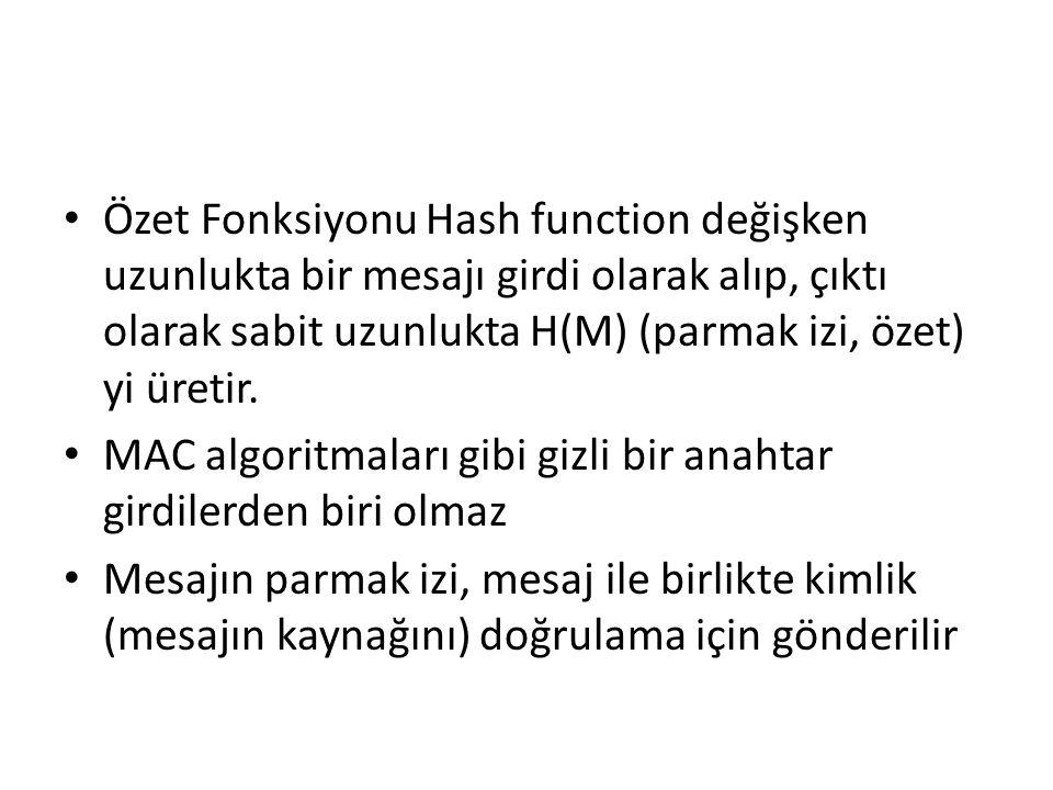 Özet Fonksiyonu Hash function değişken uzunlukta bir mesajı girdi olarak alıp, çıktı olarak sabit uzunlukta H(M) (parmak izi, özet) yi üretir.
