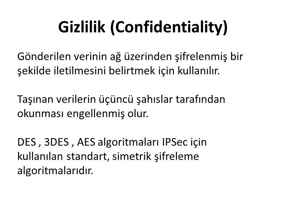 Gizlilik (Confidentiality) Gönderilen verinin ağ üzerinden şifrelenmiş bir şekilde iletilmesini belirtmek için kullanılır.