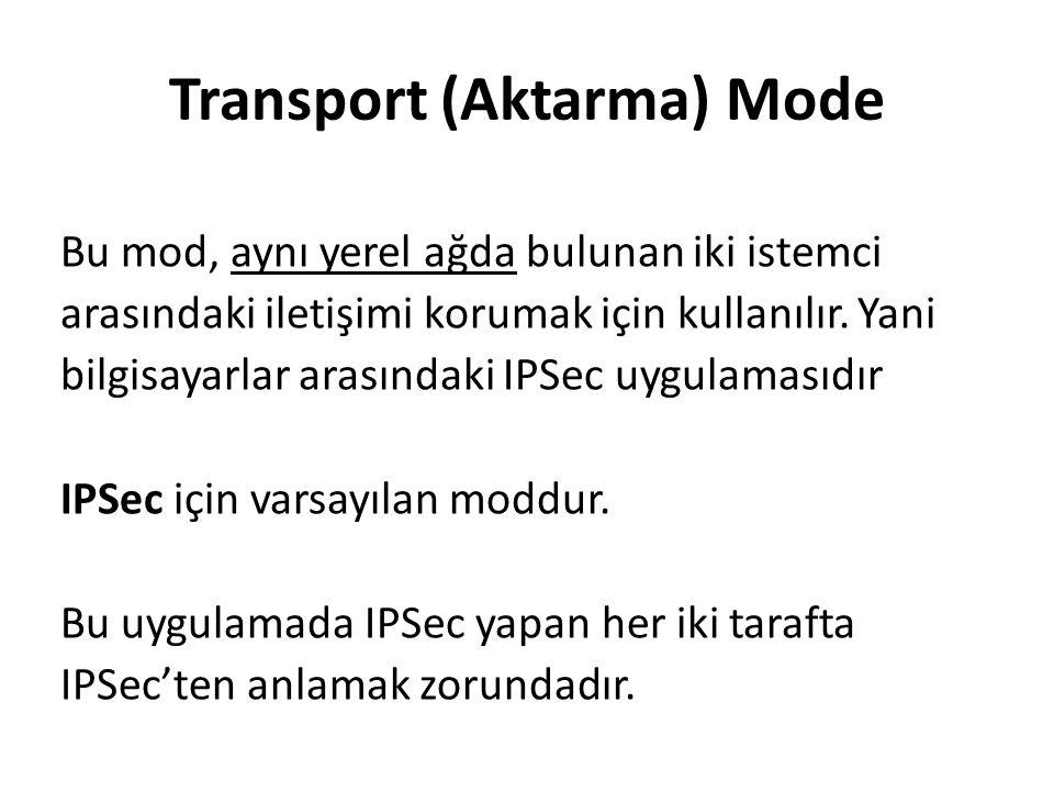 Transport (Aktarma) Mode Bu mod, aynı yerel ağda bulunan iki istemci arasındaki iletişimi korumak için kullanılır.