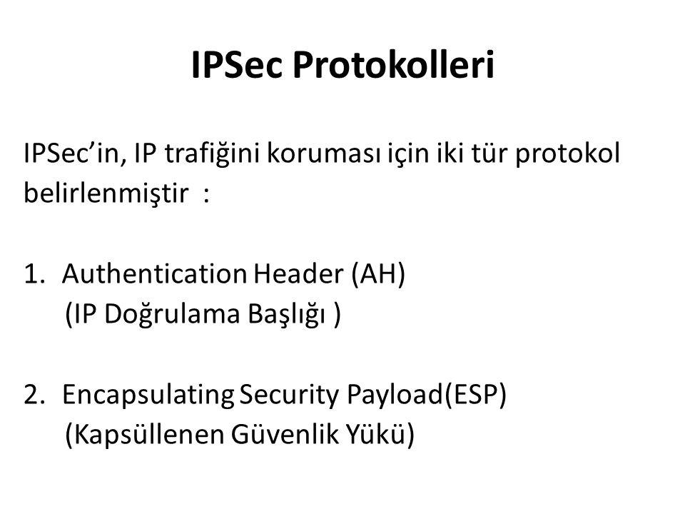 IPSec Protokolleri IPSec'in, IP trafiğini koruması için iki tür protokol belirlenmiştir : 1.Authentication Header (AH) (IP Doğrulama Başlığı ) 2.Encapsulating Security Payload(ESP) (Kapsüllenen Güvenlik Yükü)