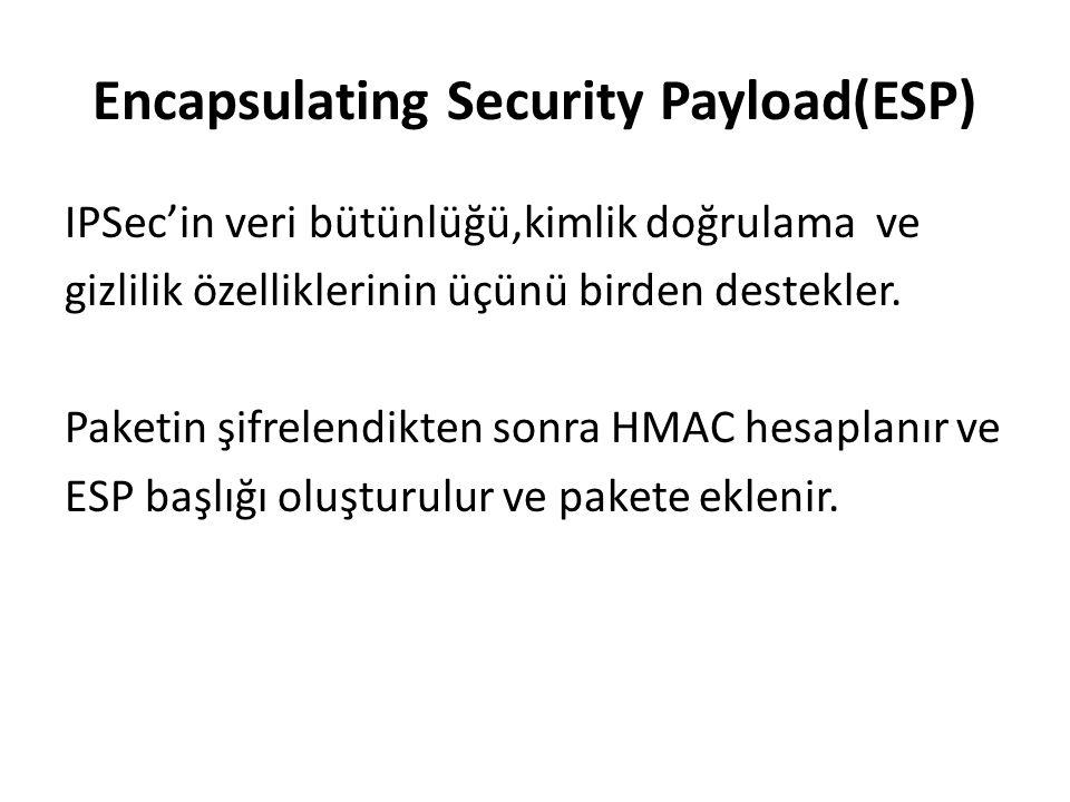 Encapsulating Security Payload(ESP) IPSec'in veri bütünlüğü,kimlik doğrulama ve gizlilik özelliklerinin üçünü birden destekler.