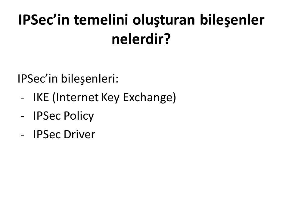 IPSec'in temelini oluşturan bileşenler nelerdir.