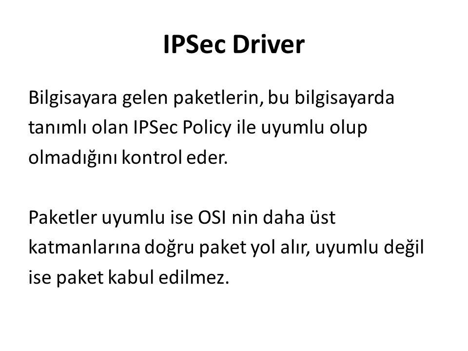 IPSec Driver Bilgisayara gelen paketlerin, bu bilgisayarda tanımlı olan IPSec Policy ile uyumlu olup olmadığını kontrol eder.