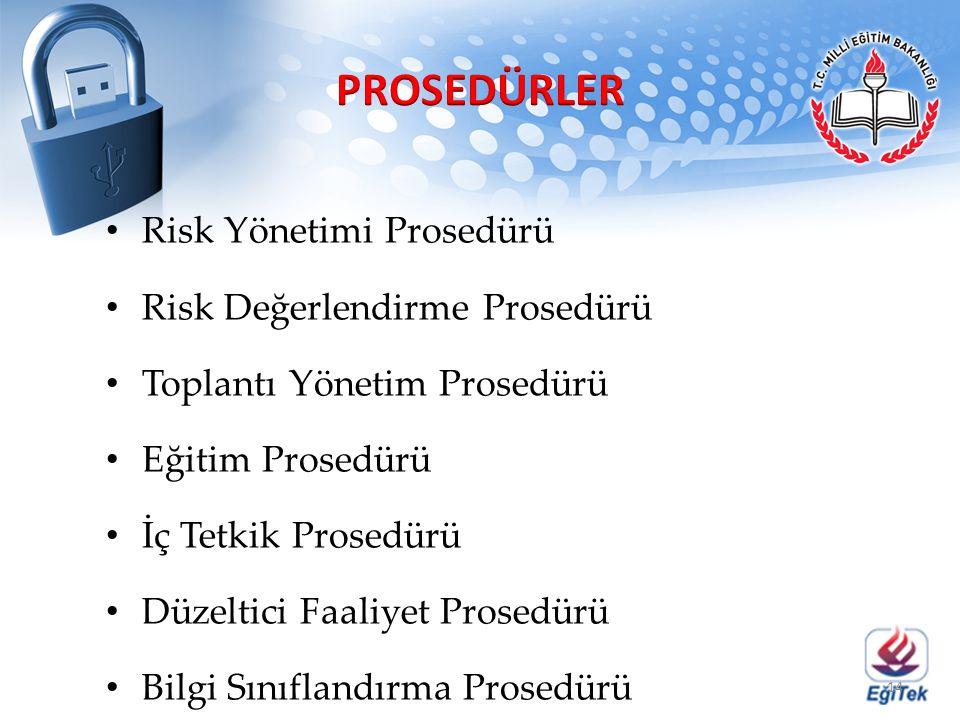 Risk Yönetimi Prosedürü Risk Değerlendirme Prosedürü Toplantı Yönetim Prosedürü Eğitim Prosedürü İç Tetkik Prosedürü Düzeltici Faaliyet Prosedürü Bilg