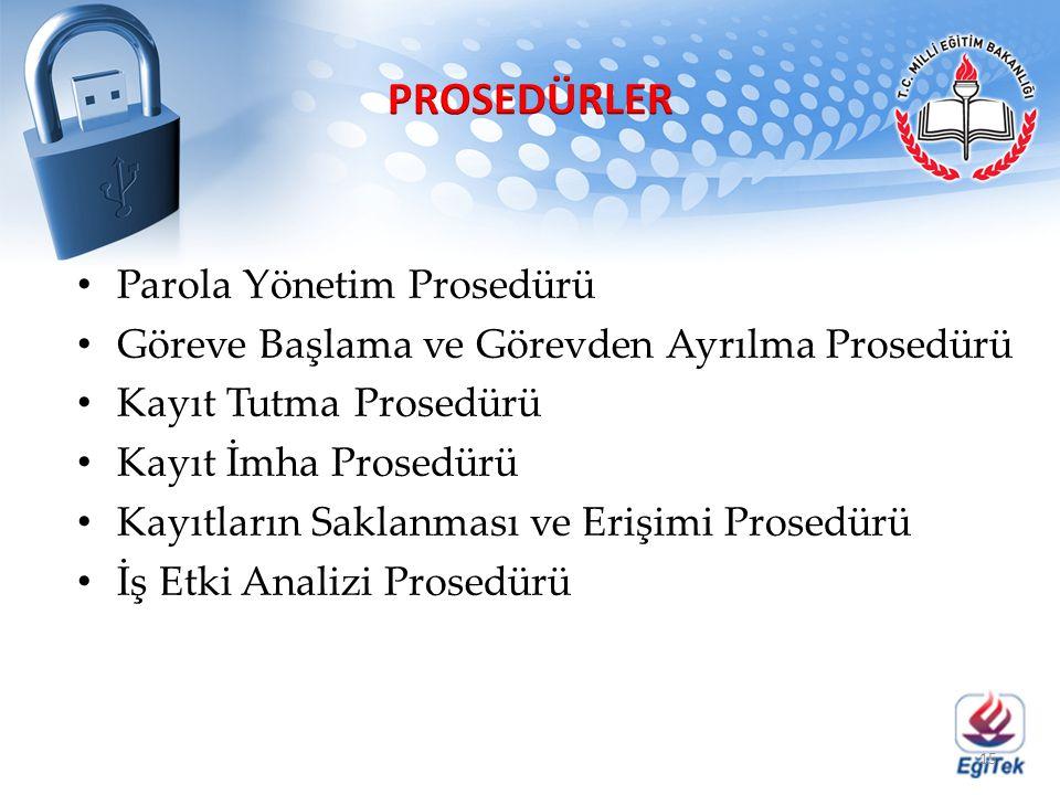Parola Yönetim Prosedürü Göreve Başlama ve Görevden Ayrılma Prosedürü Kayıt Tutma Prosedürü Kayıt İmha Prosedürü Kayıtların Saklanması ve Erişimi Pros