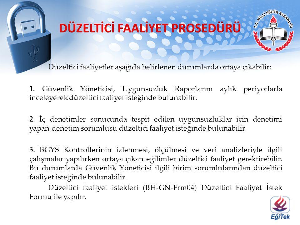 Düzeltici faaliyetler aşağıda belirlenen durumlarda ortaya çıkabilir: 1. Güvenlik Yöneticisi, Uygunsuzluk Raporlarını aylık periyotlarla inceleyerek d