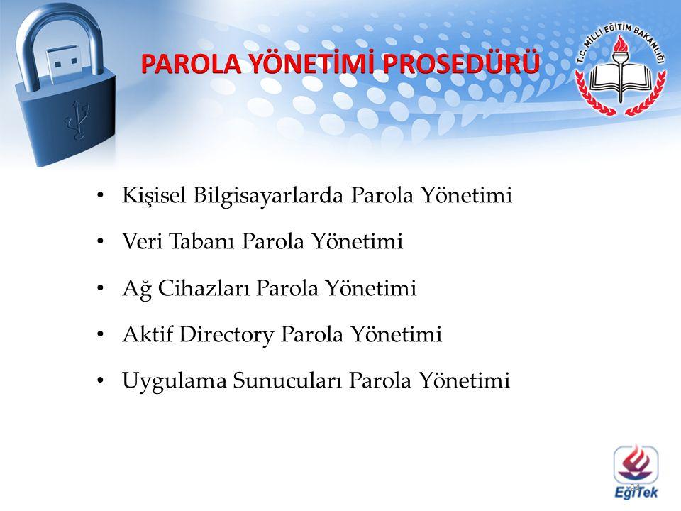 Kişisel Bilgisayarlarda Parola Yönetimi Veri Tabanı Parola Yönetimi Ağ Cihazları Parola Yönetimi Aktif Directory Parola Yönetimi Uygulama Sunucuları P