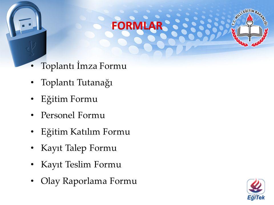 Toplantı İmza Formu Toplantı Tutanağı Eğitim Formu Personel Formu Eğitim Katılım Formu Kayıt Talep Formu Kayıt Teslim Formu Olay Raporlama Formu 33