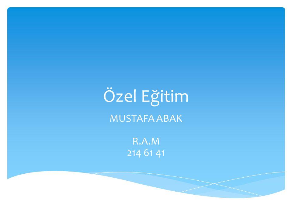 Özel Eğitim MUSTAFA ABAK R.A.M 214 61 41