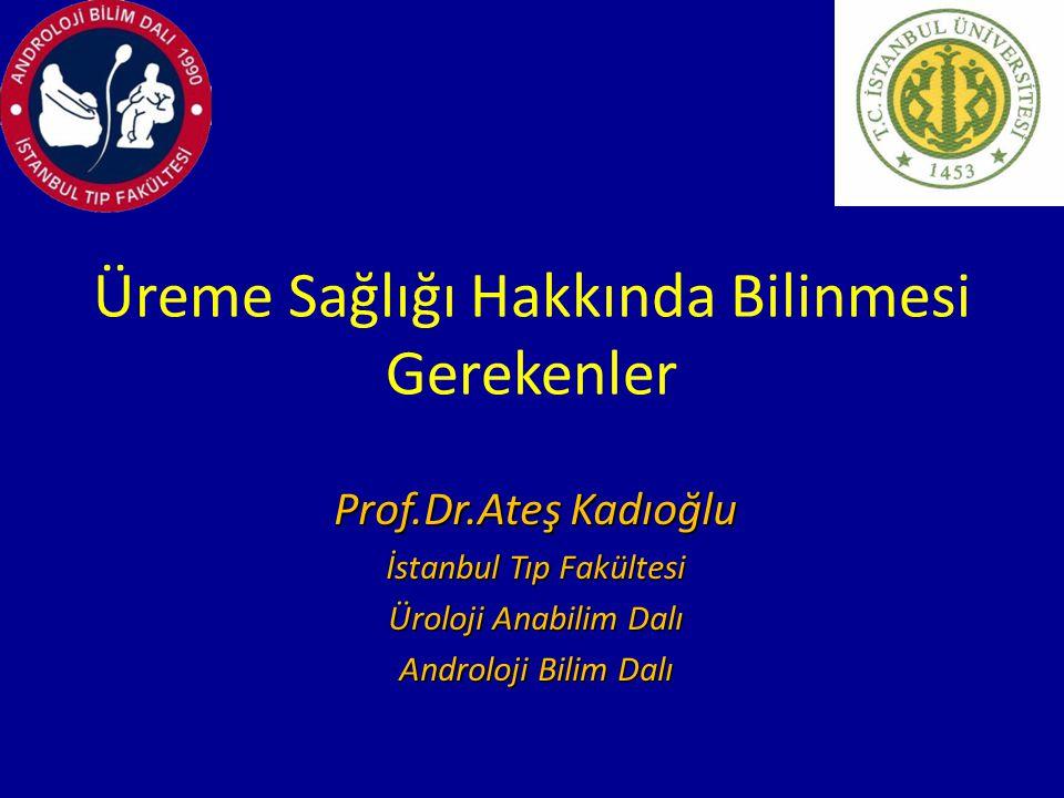 Üreme Sağlığı Hakkında Bilinmesi Gerekenler Prof.Dr.Ateş Kadıoğlu İstanbul Tıp Fakültesi Üroloji Anabilim Dalı Androloji Bilim Dalı