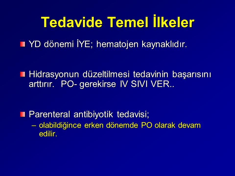 Tedavide Temel İlkeler YD dönemi İYE; hematojen kaynaklıdır. Hidrasyonun düzeltilmesi tedavinin başarısını arttırır. PO- gerekirse IV SIVI VER.. Paren