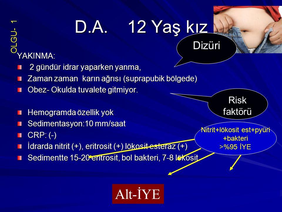 D.A. 12 Yaş kız YAKINMA: 2 gündür idrar yaparken yanma, 2 gündür idrar yaparken yanma, Zaman zaman karın ağrısı (suprapubik bölgede) Obez- Okulda tuva